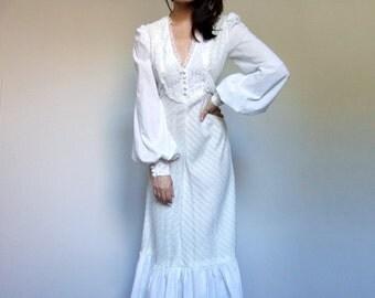 70s White Peasant Dress Long Sleeve Boho Wedding Dress Ruffle Lace Maxi Dress Floor Length - Extra Small XXS XS