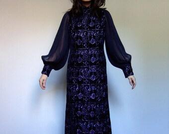60s Sheer Accordion Sleeve Metallic Maxi Dress Navy Blue Long Party Dress - Extra Large XL