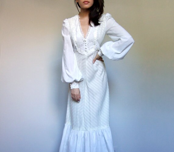 70s Maxi Dress White Dress Peasant Dress Long Sleeve Maxi Boho