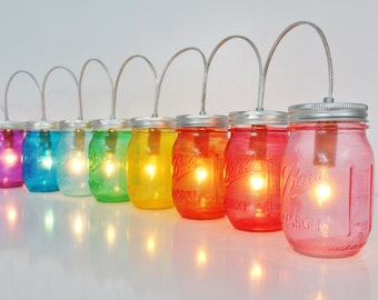 RAINBOW Mason Jar PARTY LIGHTS - Mason Jar Lighting Fixture - Upcycled Rustic Wedding String of Banner Lights - BootsNGus Mason Jar Lamps