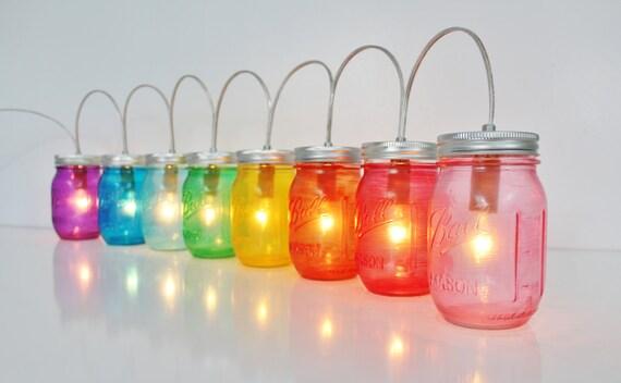 RAINBOW Mason Jar PARTY LIGHTS - Mason Jar Lighting Fixture - Upcycled Rustic Wedding String of Banner Lights - BootsNGus Mason Jar Lamps