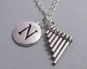Pan Flute, Peter Pan Flute, Flute Charm, Musical Charm, Keychain, Silver Plated Charm, Initial, Personalized, Monogram