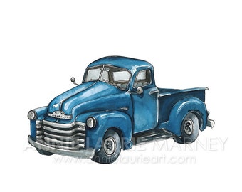 "Vintage Chevy Truck - 8x10"" Watercolor Print - Blue Truck"