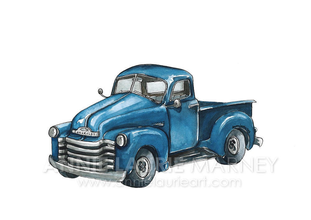 Vintage Chevy Truck 8x10 Watercolor Print Blue Truck