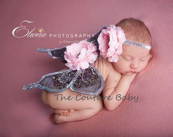 PEWTER PINK Sequin Vintage Butterfly Wings & Headband SET Beautiful Photo Prop First  Photos Fairy Wings