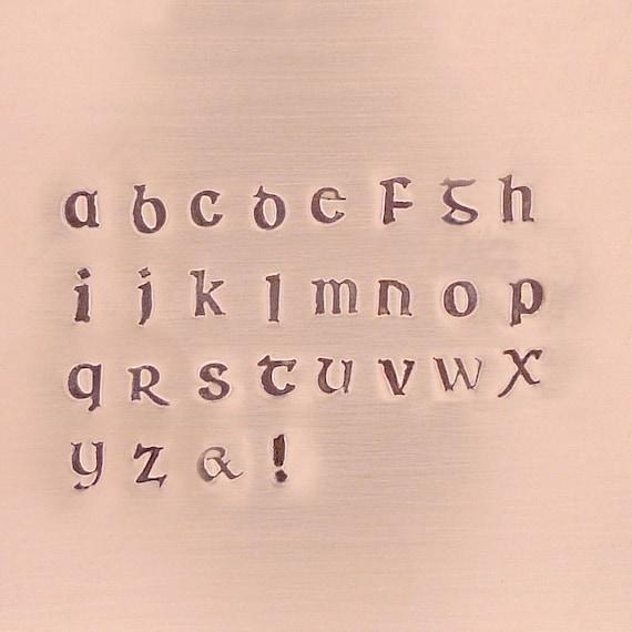 Corvus Irish Font Alphabet Stamp Set Lowercase 3mm for stamped jewelry - The Urban Beader