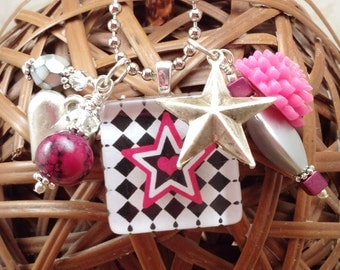 Star Me Punk Princess Checkerboard Glass Tile Charm Cluster Necklace