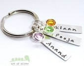 SALES - Name keyring -  Hand stamped Keychain - Personalized charms - Wedding gifts- Birthstone jewelry