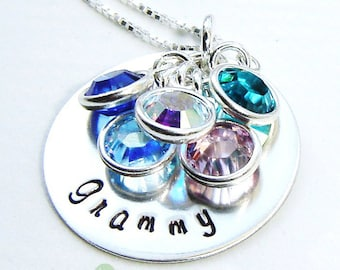 Grandma necklace - Women Jewelry - Handstamped necklace -Grammy name necklace