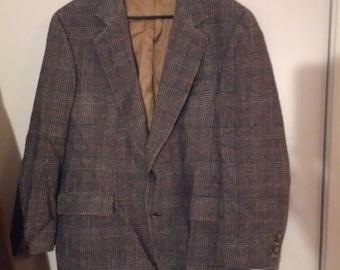 Camel Hair coat suit herringbone plaid houndstooth grey 80s jacket 44 boho peter daniel