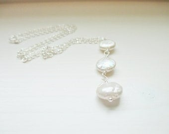 Sarah Triple Pearl Necklace - Freshwater Coin Pearls on Rolo Chain