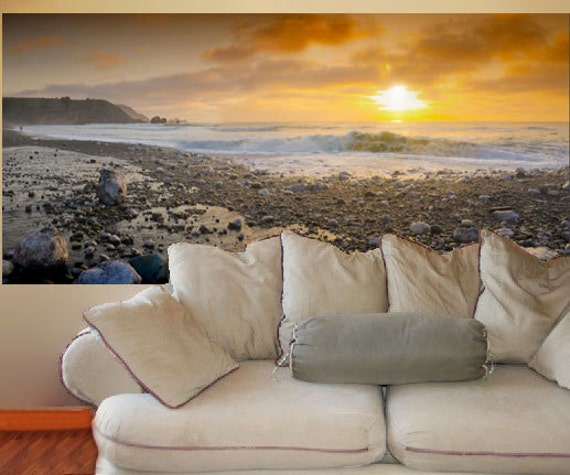Wall mural decal pacifica beach sunset 3 feet by 6 feet for Beach sunset mural