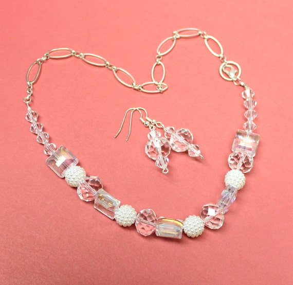 clear beaded necklace and earring setwhite shambala