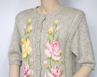 Vintage Sweater Short Sleeved Sweater Neutral Beige Embroidered Rose Knit Cover Up Cardigan Susan Bristol Size Small