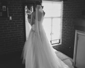 Single layer Cathedral wedding veil white, diamond or ivory