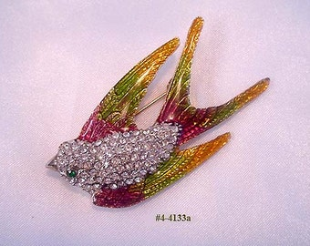 FREE SHIP Vintage Rhinestone and Guilloche Bird Brooch (4-4133)