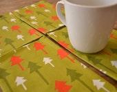 SALE Fabric Dinner Napkins, Set of 4, Retro Trees