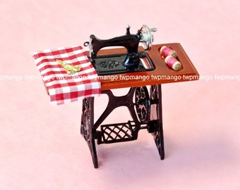 Dollhouse Miniature Sewing Machine Metal & Wood w/ Accessories 1:12 N134