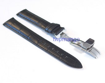 Alligator Genuine Leather Watch Band Deployant Clasp Buckle...DIY...20mm...USA...Black...K57-20