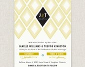 Myrtle - Modern and stylish wedding invitation on pearl linen paper