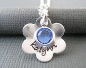 Hand Stamped Mommy Jewelry - Personalized Sterling Silver Necklace - Flower Name Pendant