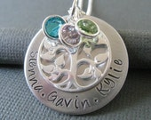 Hand Stamped Mommy Jewelry - Personalized Sterling Silver Family Tree Necklace - Great Gift for Mother's Day/New Mom - Family Tree Jewelry
