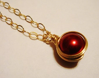 Pearl Necklace  Red Pearl 14K Gold Filled Necklace   Gold Necklace  Pearl Jewelry  Christmas Jewelry