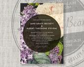 RESERVED Printable wedding invitation / Floral wedding invitation / Vintage floral illustration / purple, lilac / DIY / Garden Collection 6