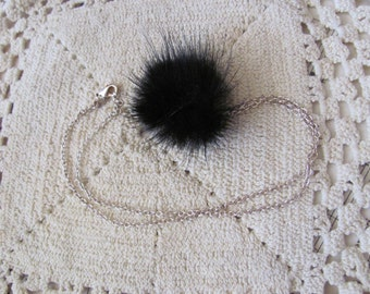 """Beautiful Silver Black Real Mink Fur Pom Ball Necklace 16"""""""
