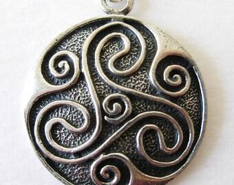 IRISH TRISKELION Antique Pewter  Pendant  Silver CELTIC Necklace-Ireland Jewelry