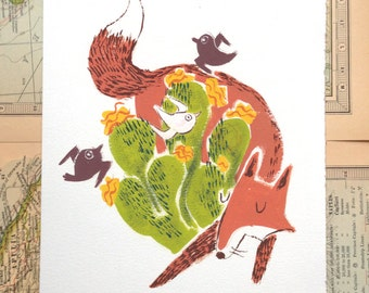 Fox Illustration Print CLEARANCE