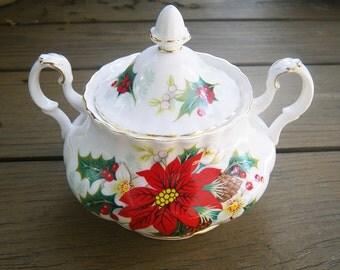 Royal Albert Christmas Poinsettia Sugar Bowl and Lid - hierloom traditional holiday china