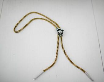 Vintage Western Swank Black, Yellow & Silver Horse Head Bolo Tie