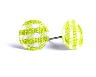 Green Lime and white plaid round dot padded fabric stud earrings (320) - Flat rate shipping