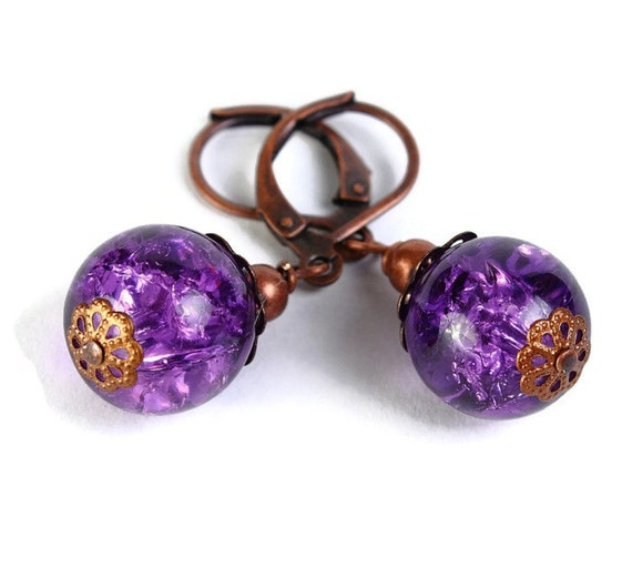 Purple plum violet crackle glass antique copper leverback earrings (385) - Flat rate shipping