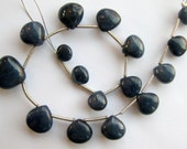 Blue Sapphire briolettes, Smooth Sapphire Hearts. FULL strand (11w19)