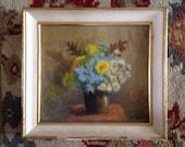Floral oil painting signed Skale