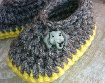 Baby Booties, Slippers.....in Gray with Yellow Sole