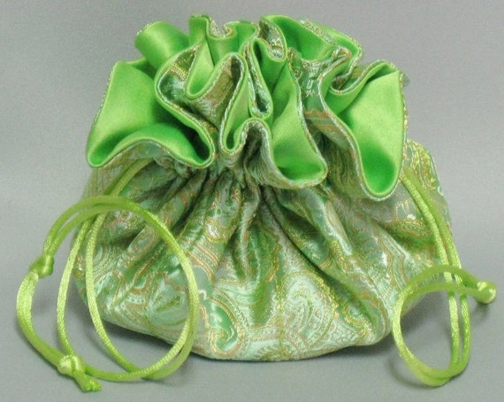 Jewelry Organizer Travel Tote---Satin Brocade  Drawstring Pouch---Lime Green & Gold Paisley----Medium Size
