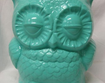 Tootsie Pop Owl Planter Large Turquoise