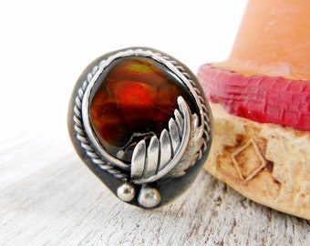 Mexican Fire Agate Ring, Sterling Silver, Gemstone, Bohemian Ring, Rustic Southwestern Jewelry Size 7