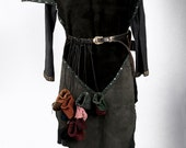 Small leather pouch drawstring game of thrones medieval reenactment ren faire larp pirate viking costume lotr dice bag coin bag