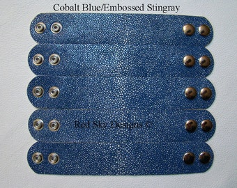 """NEW COBALT BLUE Embossed Stingray --  5 Leather Cuffs 1 1/2"""" x 8 3/4"""" with Double Adjustable Snaps"""