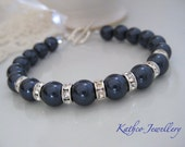 Annabelle- Navy Blue Pearl Bridal Bracelet .Bridesmaids Pearl Jewelry .Vintage style bracelet. Something Blue Jewellery
