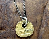 Rockford Illinois Brass Key Tag Sterling Silver Necklace