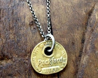 Rockford Illinois Brass Key Tag Necklace Sterling Silver Chain
