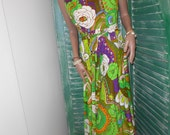 1970's Sleeveless, Psychedelic Print, Full Skirt, Tropical Maxidress - Size M
