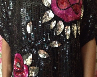 Vintage 90's Black Silver Pink Silk Sequin Rose Blouse