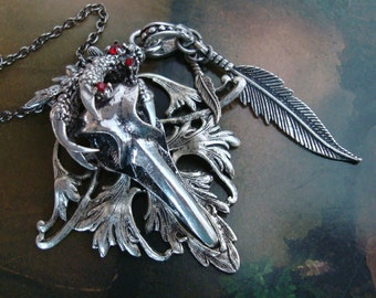 Bird Skull Gothic Necklace, Blood Jeweled Dragon's Claw Grasping Skull, Feathers Dangle From the Side, Handmade, Original Design, USA