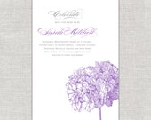 Lavender Bridal Shower Invitation with Hydrangea in Radiant Orchid Botanical Romantic Purple
